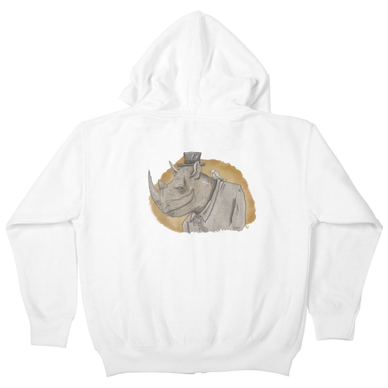 The rhino and the whisper Kids Zip-Up Hoody by Sigart's Shop