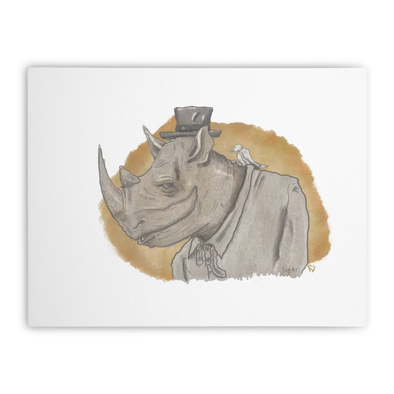 The rhino and the whisper Home Stretched Canvas by Sigart's Shop