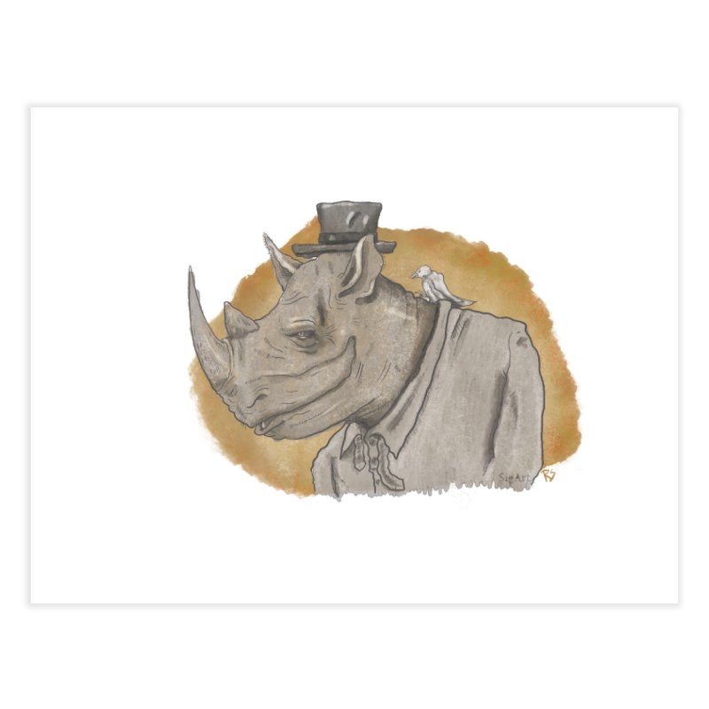 The rhino and the whisper Home Fine Art Print by Sigart's Shop