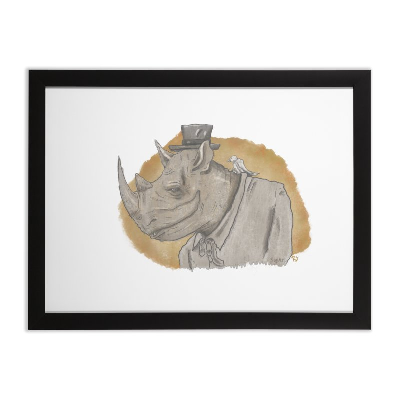 The rhino and the whisper Home Framed Fine Art Print by Sigart's Shop