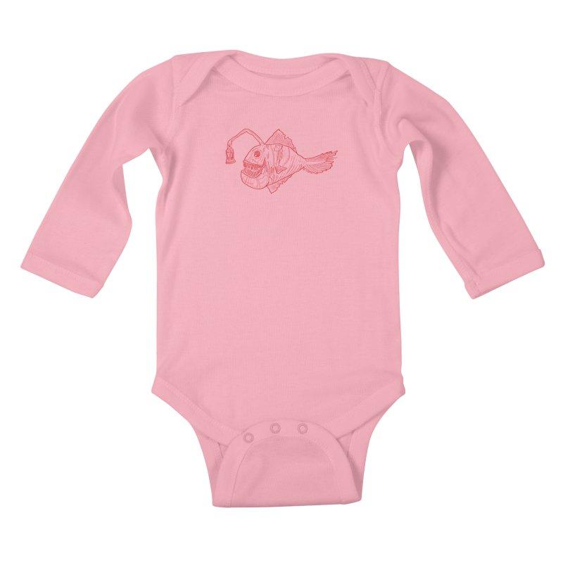 Deep sea light - red version Kids Baby Longsleeve Bodysuit by Sigart's Shop
