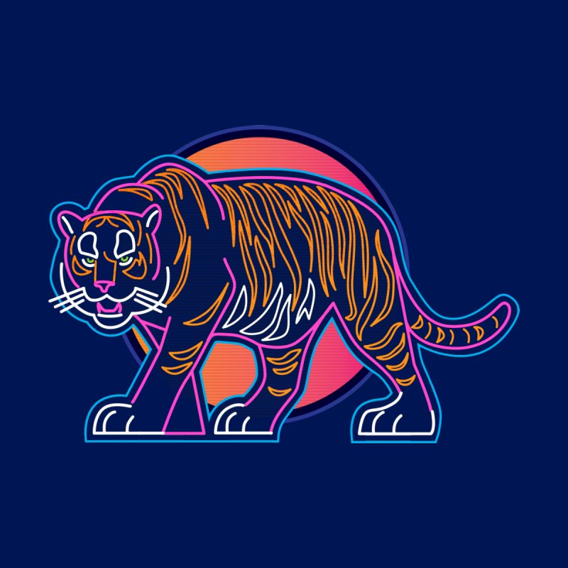 Neon Tiger Men's V-Neck by Signalnoise Threadless Store