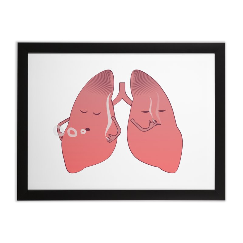 LUNGS ON SMOKE BREAK in Framed Fine Art Print Black by Sinazz's Artist Shop