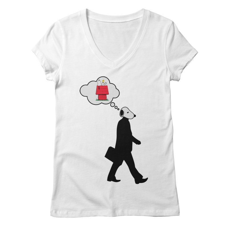 SNOOPY WANT TO CHILL in Women's V-Neck White by Sinazz's Artist Shop