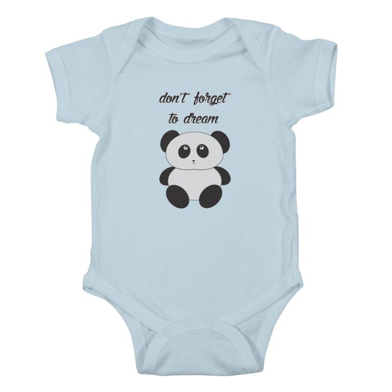 PANDA in Kids Baby Bodysuit Baby Blue by Sinazz's Artist Shop