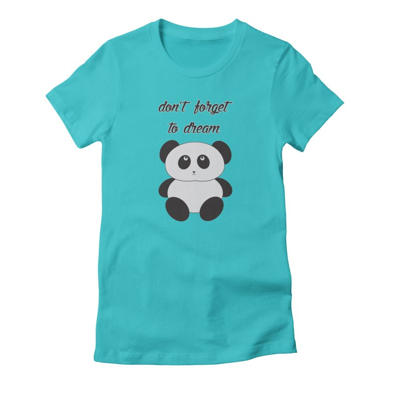 PANDA in Women's Fitted T-Shirt Pacific Blue by Sinazz's Artist Shop