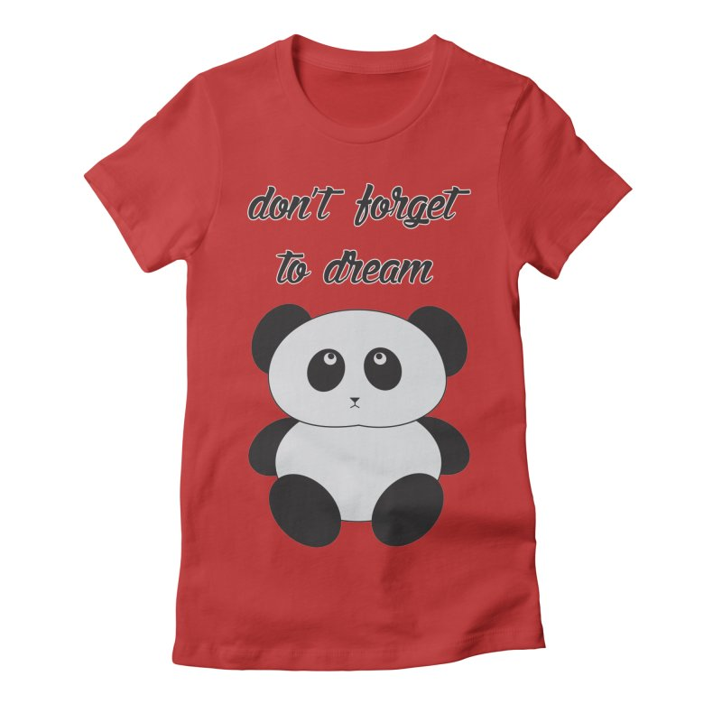 PANDA in Women's Fitted T-Shirt Red by Sinazz's Artist Shop
