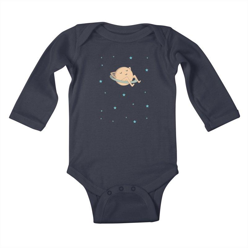 SATURN in Kids Baby Longsleeve Bodysuit Midnight by Sinazz's Artist Shop