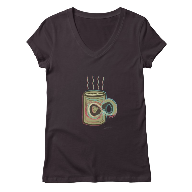 INFINITE COFFE Women's Regular V-Neck by Sinazz's Artist Shop