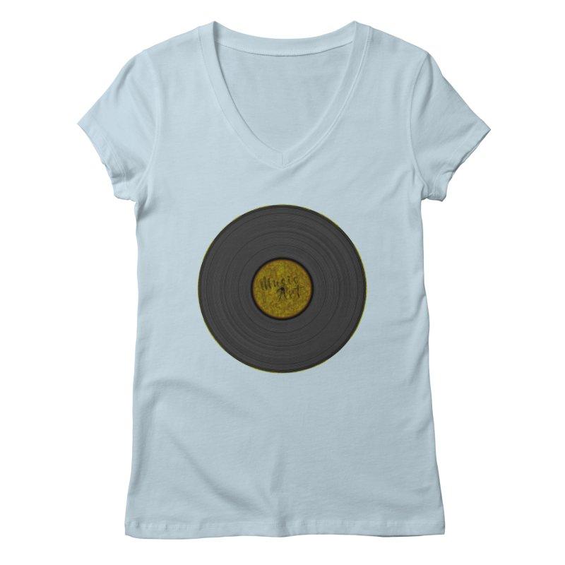 Vinyl Art Women's Regular V-Neck by Sinazz's Artist Shop