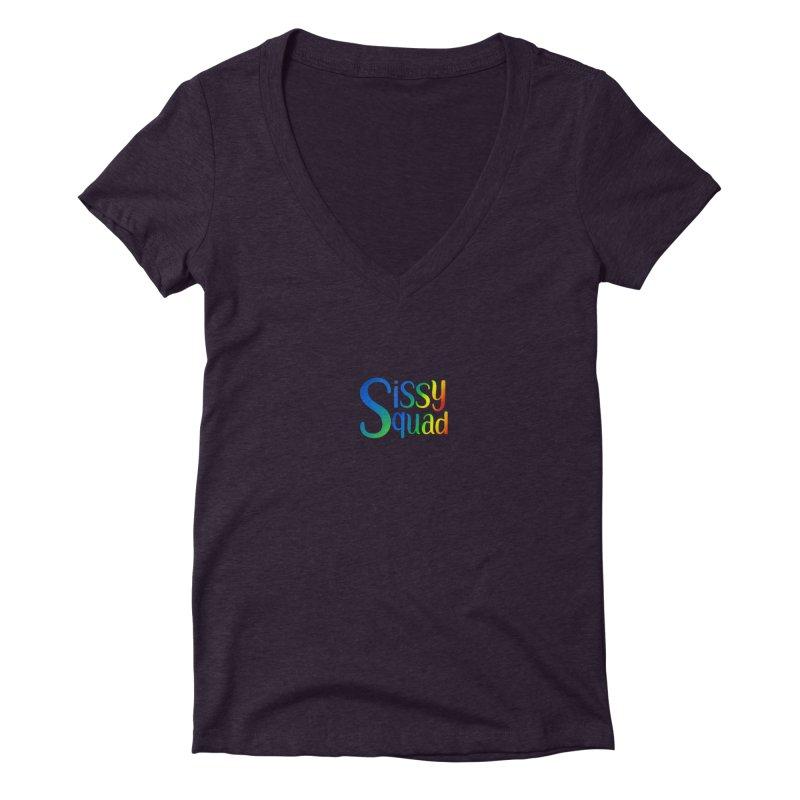 Sissy Squad RAINBOW TEXT Women's Deep V-Neck V-Neck by Sissy Store: 90 Day Gays Swag
