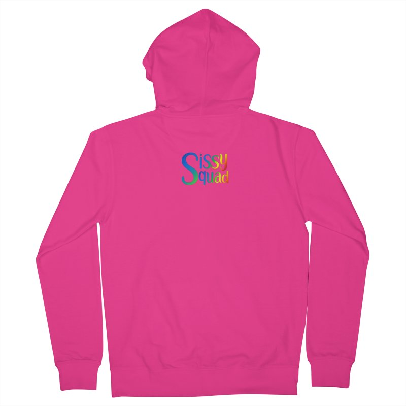 Sissy Squad RAINBOW TEXT Men's French Terry Zip-Up Hoody by Sissy Store: 90 Day Gays Swag