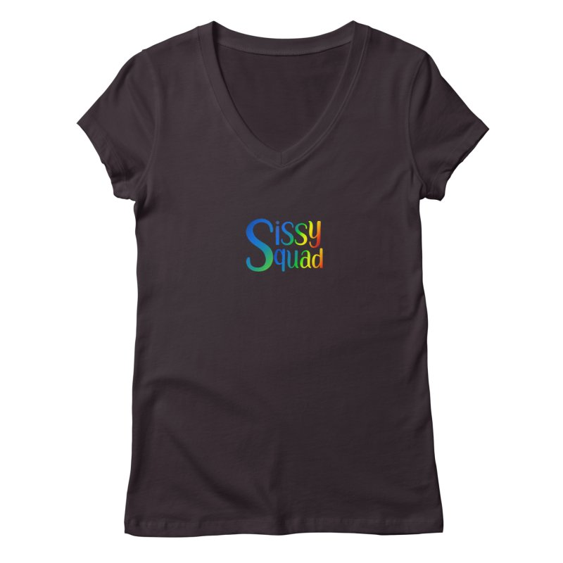 Sissy Squad RAINBOW TEXT Women's V-Neck by Sissy Store: 90 Day Gays Swag