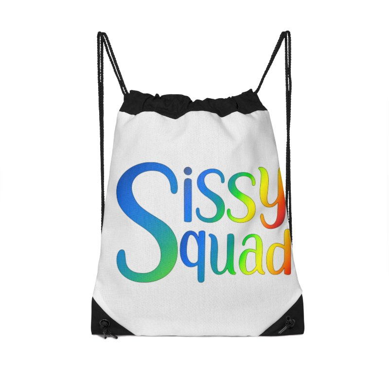 Sissy Squad RAINBOW TEXT Accessories Drawstring Bag Bag by Sissy Store: 90 Day Gays Swag