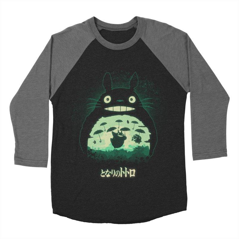 Totoro And His Umbrellas Men's Baseball Triblend Longsleeve T-Shirt by Arashi-Yuka