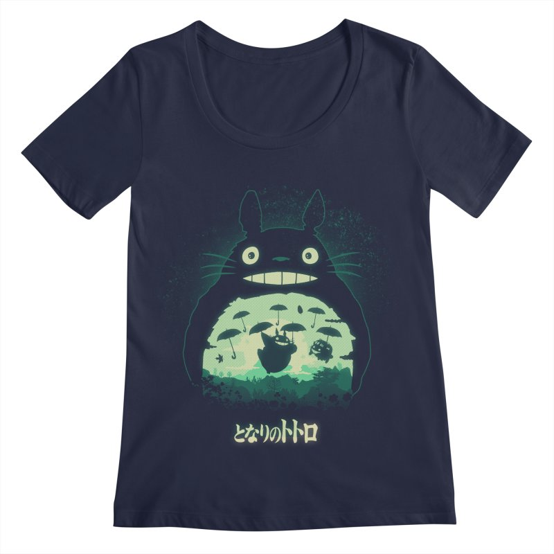 Totoro And His Umbrellas Women's Regular Scoop Neck by Arashi-Yuka