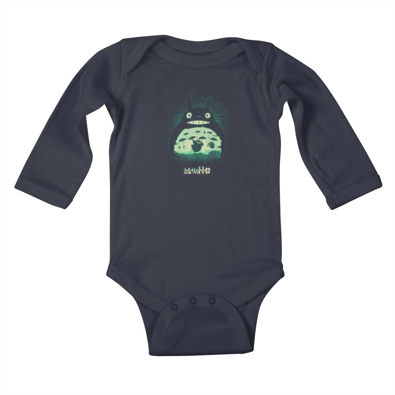 Totoro And His Umbrellas Kids Baby Longsleeve Bodysuit by Arashi-Yuka