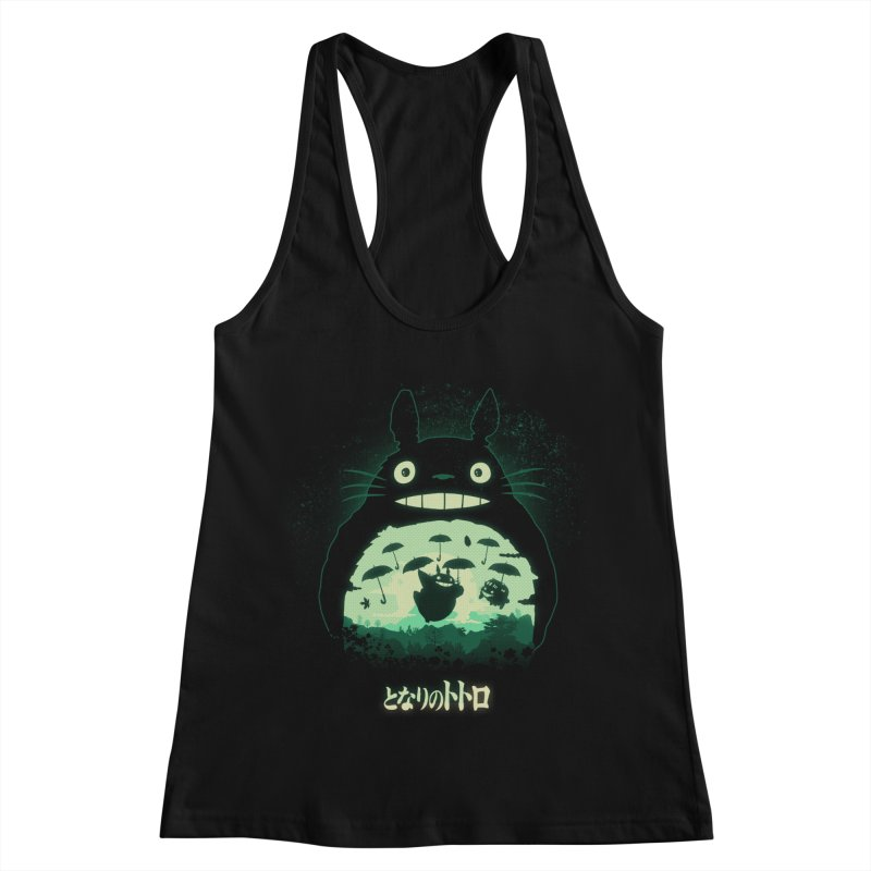 Totoro And His Umbrellas Women's Racerback Tank by Arashi-Yuka