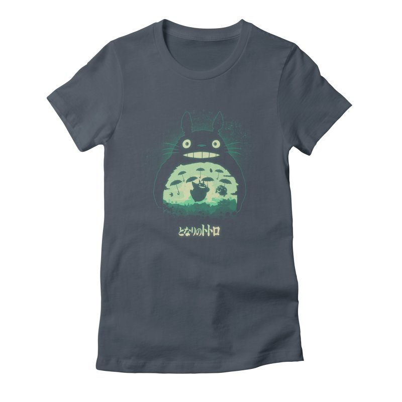 Totoro And His Umbrellas Women's Fitted T-Shirt by Arashi-Yuka