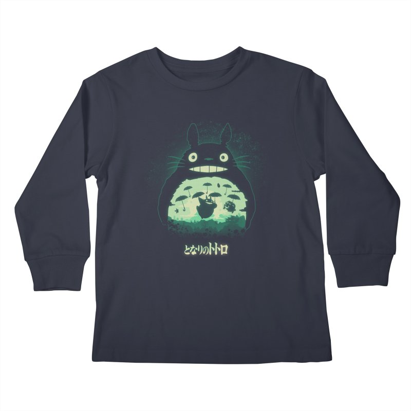 Totoro And His Umbrellas Kids Longsleeve T-Shirt by Arashi-Yuka