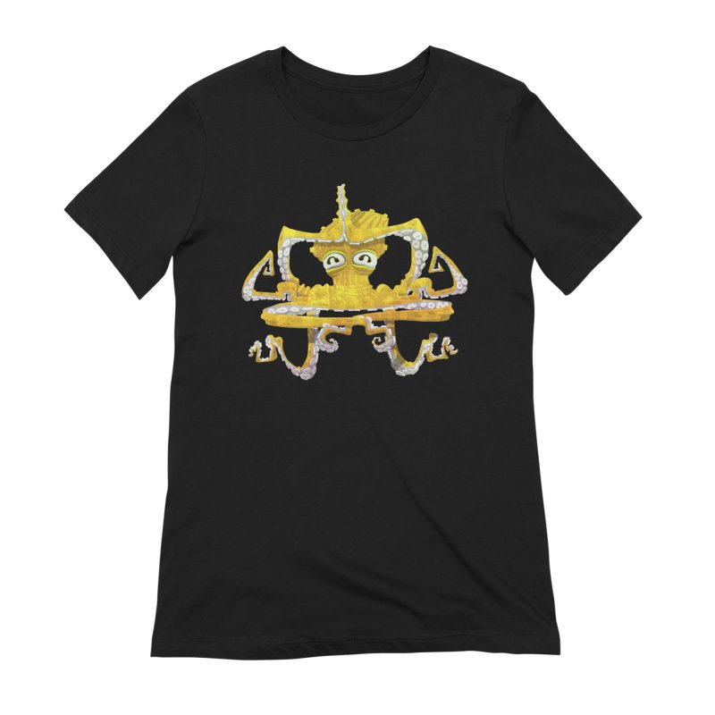 octovasana. yellow on black Women's Extra Soft T-Shirt by Skrowl's Artist Shop