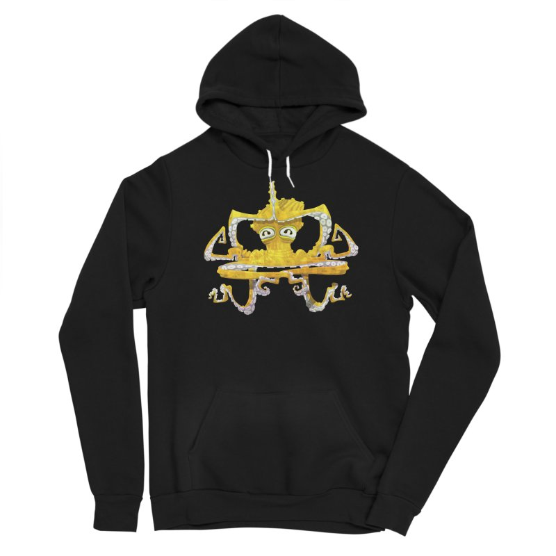 octovasana. yellow on black Men's Sponge Fleece Pullover Hoody by Skrowl's Artist Shop
