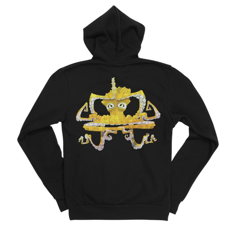 octovasana. yellow on black Women's Sponge Fleece Zip-Up Hoody by Skrowl's Artist Shop