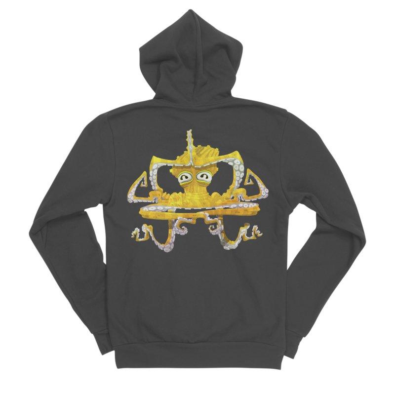 octovasana. yellow on black Women's Sponge Fleece Zip-Up Hoody by Skrowl's Artist Shop