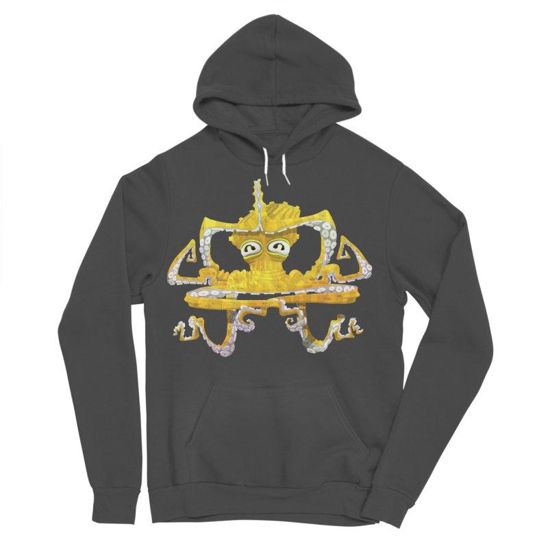 octovasana. yellow on black Men's Sponge Fleece Pullover Hoody by Skrowl's Artist Shop