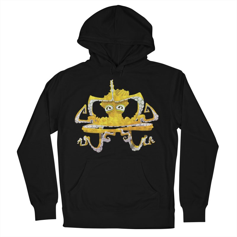 octovasana. yellow on black in Men's French Terry Pullover Hoody Black by Skrowl's Artist Shop