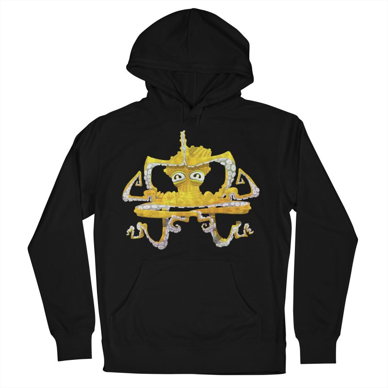 octovasana. yellow on black Men's French Terry Pullover Hoody by Skrowl's Artist Shop