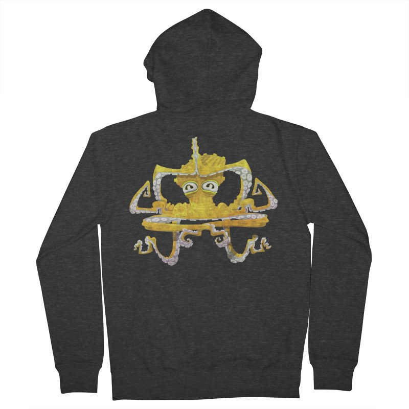 octovasana. yellow on black Women's French Terry Zip-Up Hoody by Skrowl's Artist Shop