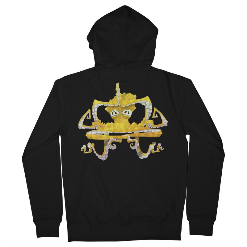 octovasana. yellow on black Men's French Terry Zip-Up Hoody by Skrowl's Artist Shop