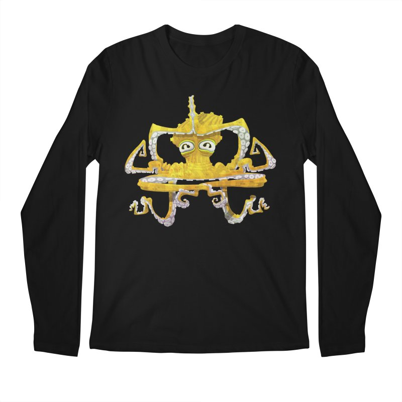 octovasana. yellow on black Men's Regular Longsleeve T-Shirt by Skrowl's Artist Shop