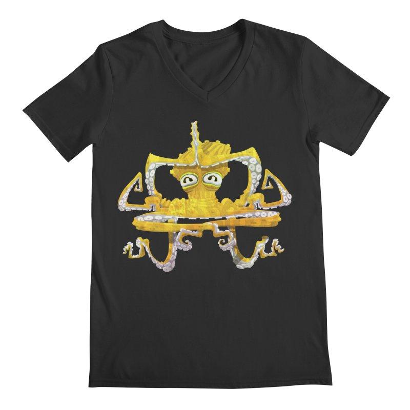 octovasana. yellow on black Men's Regular V-Neck by Skrowl's Artist Shop