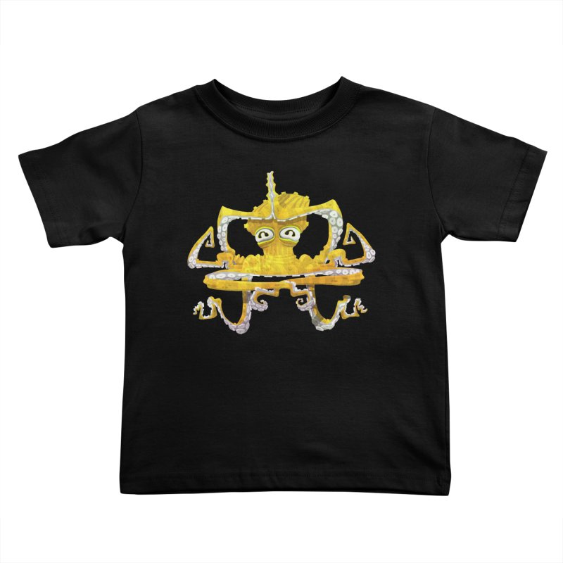 octovasana. yellow on black Kids Toddler T-Shirt by Skrowl's Artist Shop
