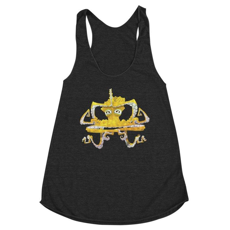 octovasana. yellow on black Women's Racerback Triblend Tank by Skrowl's Artist Shop