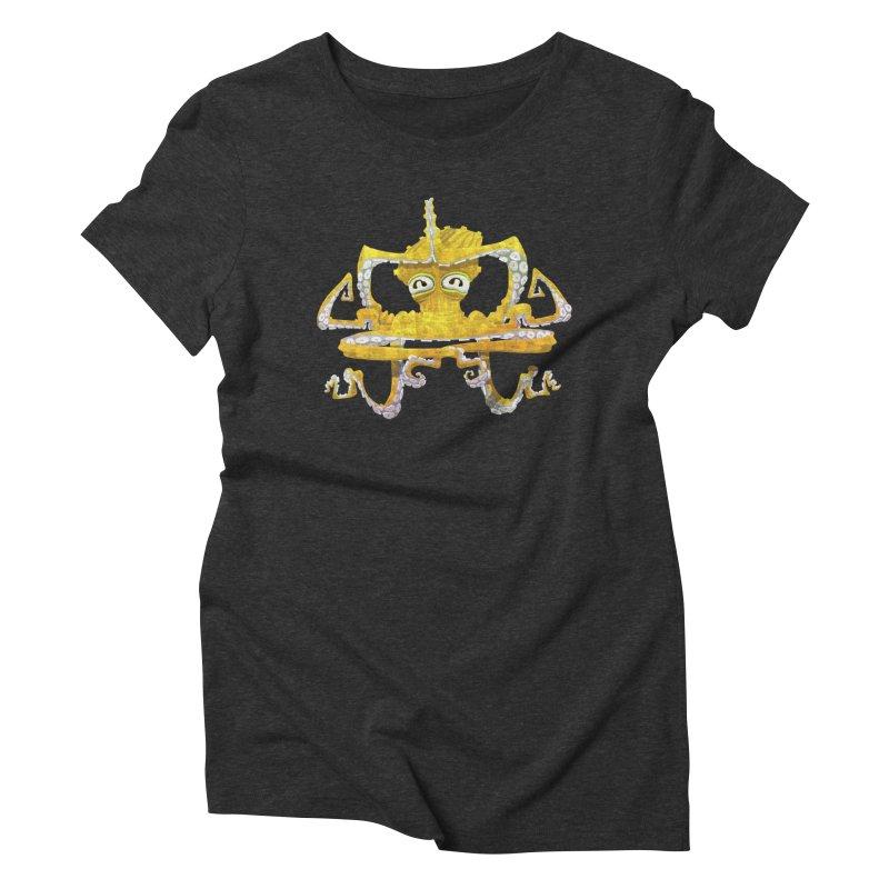 octovasana. yellow on black Women's T-Shirt by Skrowl's Artist Shop