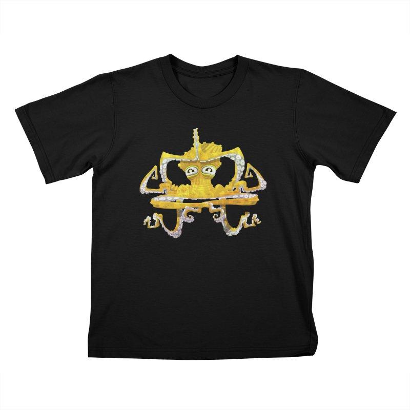 octovasana. yellow on black Kids T-Shirt by Skrowl's Artist Shop