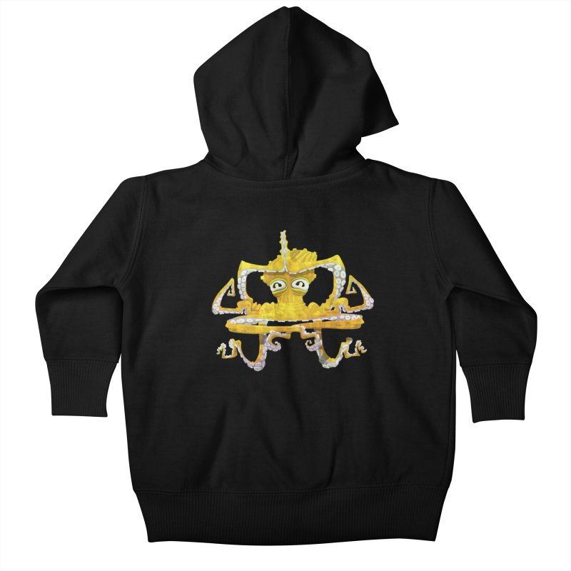 octovasana. yellow on black Kids Baby Zip-Up Hoody by Skrowl's Artist Shop