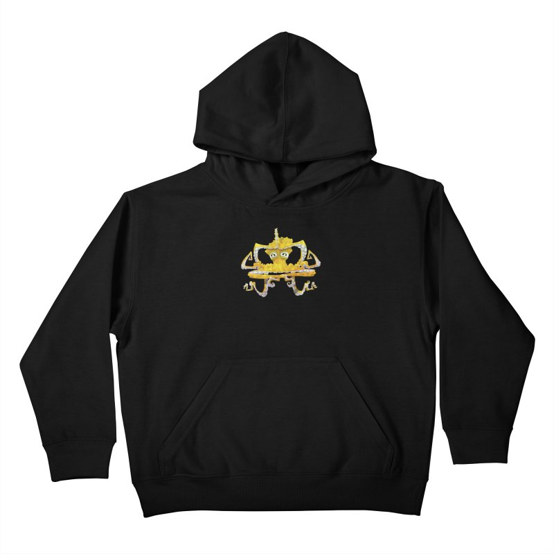 octovasana. yellow on black Kids Pullover Hoody by Skrowl's Artist Shop