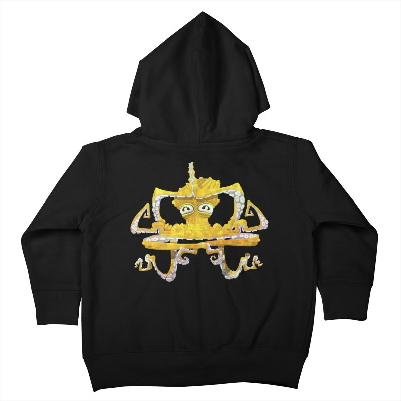 octovasana. yellow on black Kids Toddler Zip-Up Hoody by Skrowl's Artist Shop