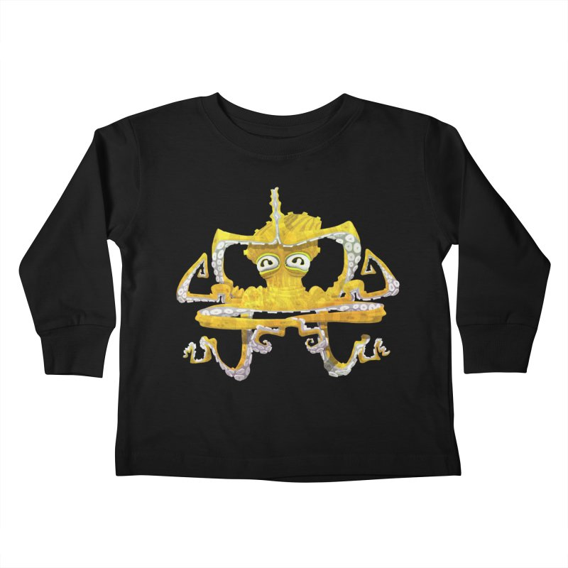 octovasana. yellow on black Kids Toddler Longsleeve T-Shirt by Skrowl's Artist Shop