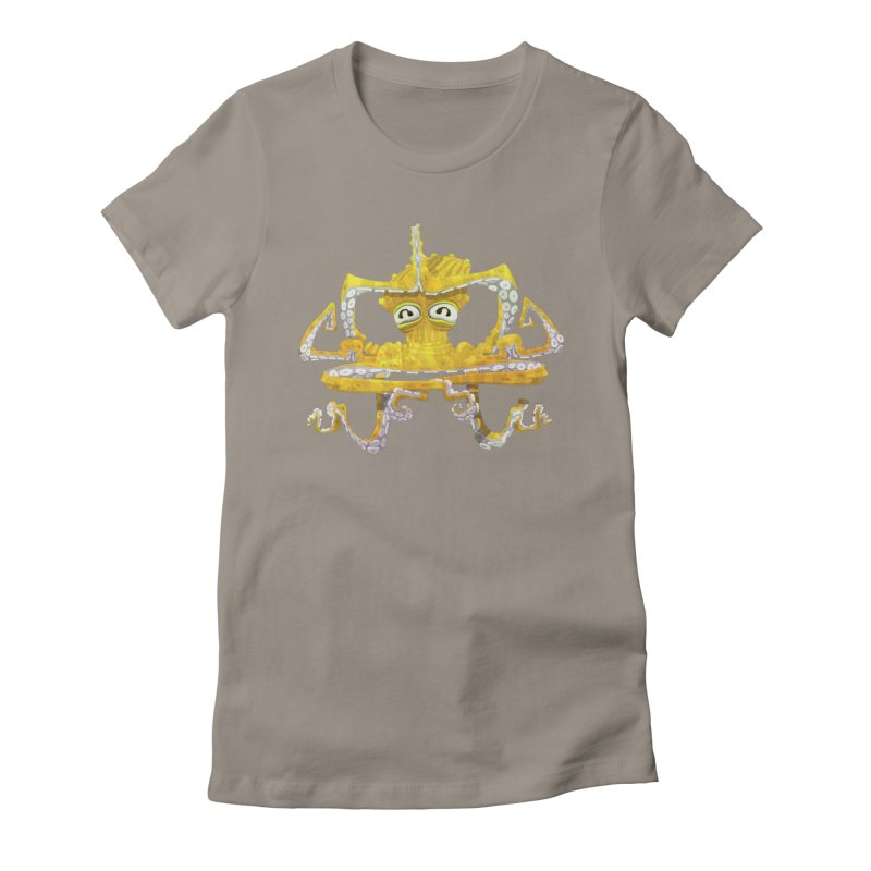 octovasana. yellow on black Women's Fitted T-Shirt by Skrowl's Artist Shop