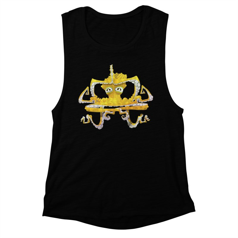 octovasana. yellow on black Women's Muscle Tank by Skrowl's Artist Shop