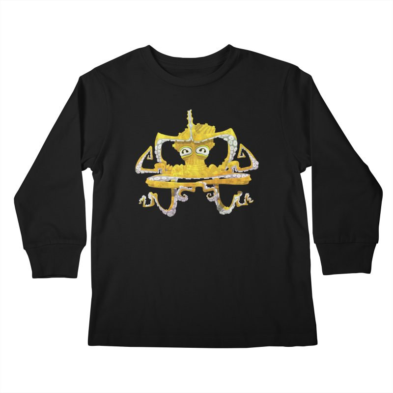 octovasana. yellow on black Kids Longsleeve T-Shirt by Skrowl's Artist Shop