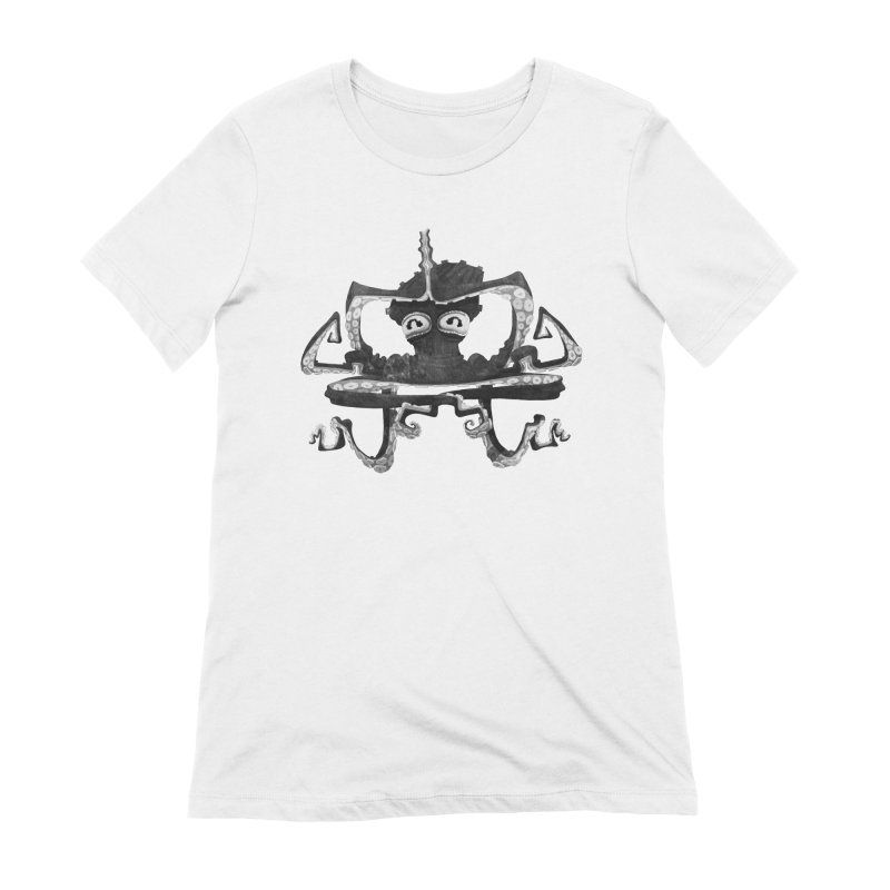 octovasana. black on white Women's Extra Soft T-Shirt by Skrowl's Artist Shop