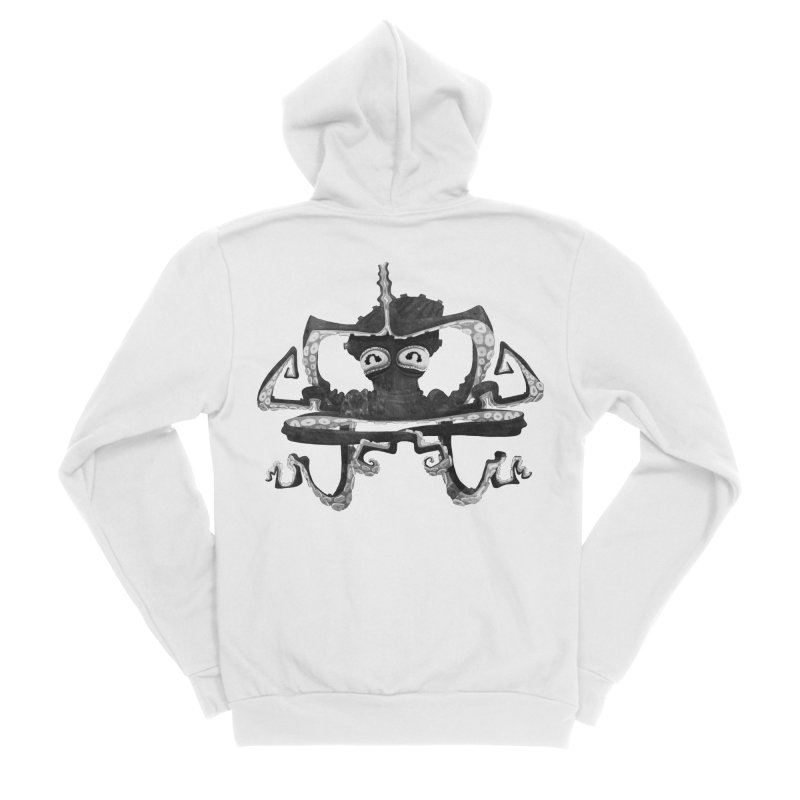 octovasana. black on white Women's Sponge Fleece Zip-Up Hoody by Skrowl's Artist Shop
