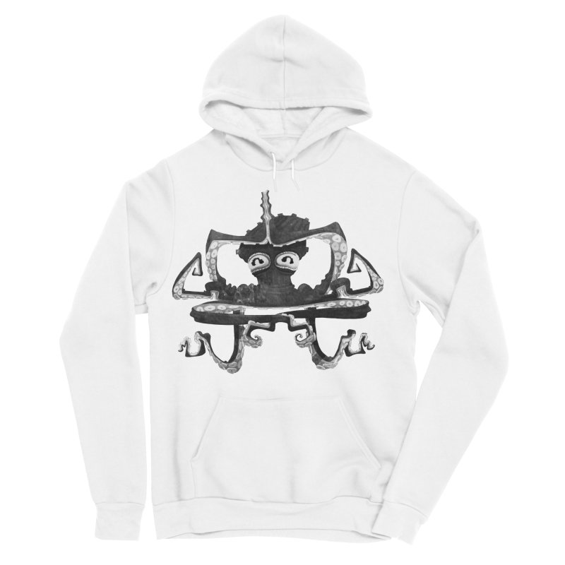octovasana. black on white in Women's Sponge Fleece Pullover Hoody White by Skrowl's Artist Shop