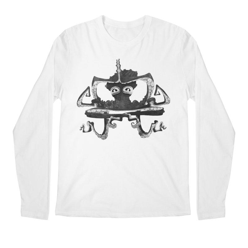 octovasana. black on white Men's Regular Longsleeve T-Shirt by Skrowl's Artist Shop